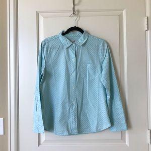 J.crew turquoise green dot shirt, size 10